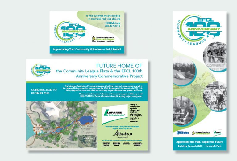 Edmonton Federation of Community Leagues 100 Year Signage and Business Card