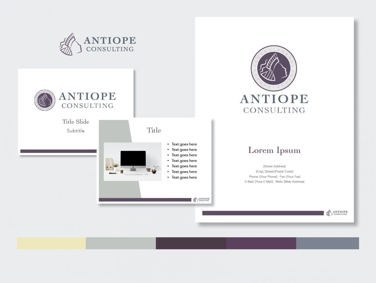 Antiope Consulting logo, presentation, and proposal templates